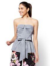 NEW YORK COMPANY Medium 7th Avenue Blue Strapless Wrap Shirt peplum belt tie top