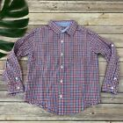 Janie and Jack Boys Button Up Shirt Size 5 Blue Red Check Long Sleeve Patriotic