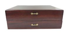 Vintage Flatware Silverware Wooden Storage Box Chest Case w/Drawer Side Handles