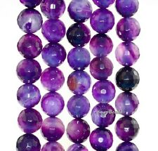 """12MM DARKEST GRAPES AGATE GEMSTONE PURPLE FACETED ROUND 12MM LOOSE BEADS 15"""""""