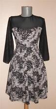 Kelly Brook GOTH BLACK lace effect mesh net corset efct SKATER party DRESS 10 UK