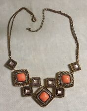 "Brasstone Metal Pink Clear Crystal Orange Cabochon 21.5"" Geometric Bib Necklace"