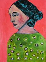 Poet Virginia Woolf Original OOAK Polka Dot Painting by Katie Jeanne Wood