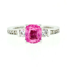 Vintage 14k White Gold 1.62ct GIA Cushion Pink Sapphire Solitaire & Diamond Ring