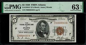 1929 $5 Federal Reserve Bank Note Atlanta - FR.1850-F - Graded PMG 63 EPQ