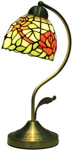Mural Times Lighting Elegant Red Rose Floral Stained Glass Tiffany Table Lamp