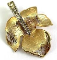 VINTAGE LEAF NECKLACE PENDANT CLEAR RHINESTONE ACCENTS GOLD TONE METAL