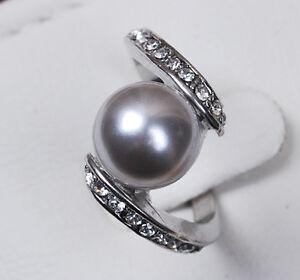 10MM Gray South Sea Shell Pearl ring AAA Grade / V03