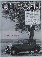 PUBLICITE AUTOMOBILE CITROEN LA C4G ET LA C6G MODELE 1932 DE 1931 FRENCH AD CAR