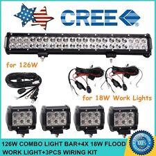 "20""inch 126W CREE LED Light Bar Flood Spot + 4X 18W Flood Lights + 3X Wiring Kit"
