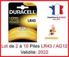 Lot de 2 à 10 Pile LR-43 / AG12 / 186 DURACELL Bouton Alcaline 1,5V DLC 2022