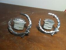 PAIR Oem 1982-1996 Cadillac Roof Panel Emblem & Wreath GM 7643400 and 202480001