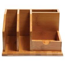 Baumgartens Qi Bamboo Wood Desk Organizer 4 Slot Pens Notes File Holder 10450