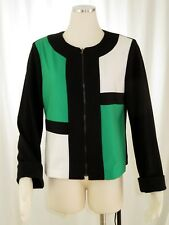 Focus 2000 Color Block Jacket Womens Size 10 Full Zip Green White Black