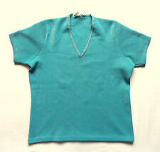 Women's Vintage 70's Aqua Top Retro Boho Mod 14