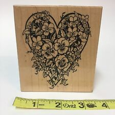 1995 PSX Single Rubber Stamp K-1359 Heart Pansy Ivy Love Botanical Wood-Mounted