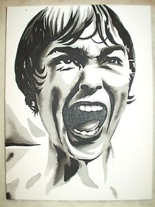 Canvas Painting Psycho Movie Shower Scene Janet Leigh B&W Art 16x12 inch Acrylic