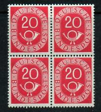 GERMANY 1951 POSTHORN 20pf, BLOK OF 4, MINT HINGED ON TWO STAMPS, (p30)