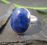 Großer 925 Silber Ring Lapislazuli Lapis Ultramarin Blau Oval Natur Designer Top