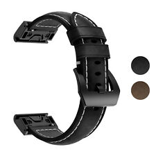 StrapsCo Leather Watch Strap for Garmin Fenix 5/6, Instinct, Forerunner 935