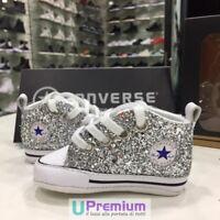 Converse All Star Glitter Argento Neonato [Prodotto Personalizzato] Scarpe Borch