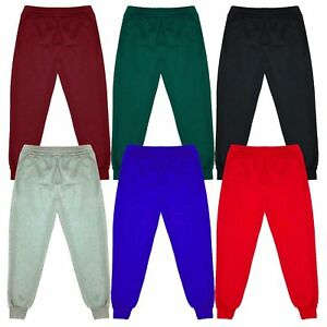 Kids Childrens Warm Fleece Jogging Bottoms School Plain Joggers Pants 2-14 Years