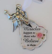 f Miracles happen to those who believe Faith Flowers ANGEL ORNAMENT car charm