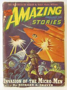 Vintage AMAZING STORIES Magazine - Pulp Science Fiction - February 1946