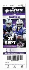 2014 KANSAS STATE WILDCATS VS UTEP TICKET STUB 9/27/14 FOOTBALL