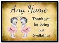 Vintage baby twin filles parrain merci personnalisé napperon