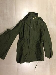 m65 jacket, olive, vintage,usa, made 80's,nos, gi contractor,XSMALL reg