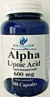 Alpha Lipoic Acid 600mg 180 Caps Metabolism Antioxidant Hi Potency Gluten Free