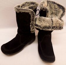 CANYON RIVER Yeti Mukluk Chunky Boot Black Leather Suede Fur Lined Lace Up 7.5 M