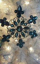 "Gorgeous 6.5"" Metal Silver & Blue Shiny Snowflake Christmas Ornament! Sweet!"