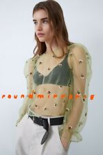 NWT Zara Apple Green Floral Embroidered Organza Semi Sheer Blouse Top XS S M