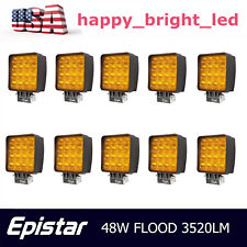 10X 48W Flood Square LED Light Bar Driving Jeep Boat 5D Opticals Offroad Yellow