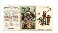 Vintage BOY SCOUTS AMERICA Membership Card tri-fold 1934 SeaScout  w env BSA