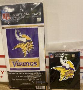 NFL Minnesota Vikings Two Sided House Flag & Flexible Logo Decal