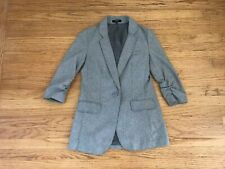Express gray wool blend 1 button blazer jacket sz 0 Ruched sleeve