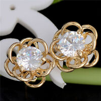 New 1Pair 18K Gold Filled Shiny Cubic Zirconia Delicate Flower hoop Earrings