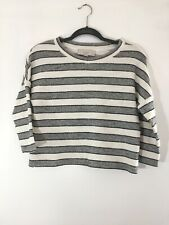 Loft Cropped Ivory & Gray Striped Cotton Sweater Sz XS Petite Spring Fall Winter