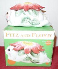 2003-04 Fitz & Floyd 'Bunny Blooms' Oval Trinket Box w/Lid Iob