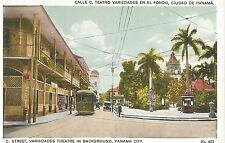 Panama City C. Street Variadades Theatre in Background Postcard c1915