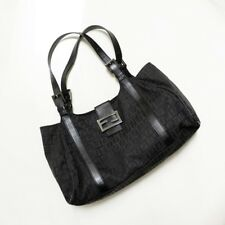 ff4d633d5dd Authentic Fendi Black Zucca Canvas and Leather Tote Hand or Shoulder Bag