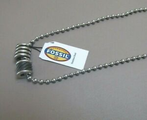 BRAND NEW UNISEX FOSSIL DOUBLE STAINLESS STEEL PENDANT NECKLACE