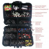 Tackle Box Swivels Snaps Fishing Accessories Kit Sinker Weights Jig Hooks 177pcs