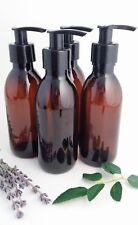 4 X 200ml Empty Amber PET Plastic Bottle Black Lotion Pump Dispenser Soap Lotion