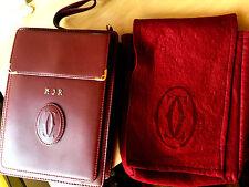 Authentic Must De Cartier Clutch WRISTLET Bag Leather Bordeaux Red Gold Unisex
