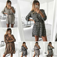 Women Leopard Print Mini Shirt Dress V Neck Long Sleeve Casual Loose Blouse Tops