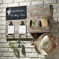 MyGift Torched Wood Wall Mounted Chalkboard Memo Clips, Mail Sorter and Key Hook
